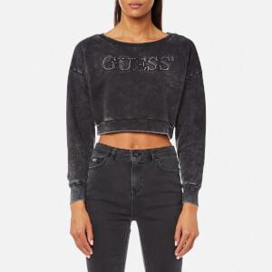 Guess Women's Cropped Sweatshirt - Dark Grey Acid Wash