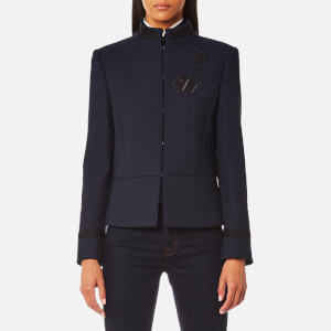 Karl Lagerfeld Women's Military Jacket with Patches - Peacoat
