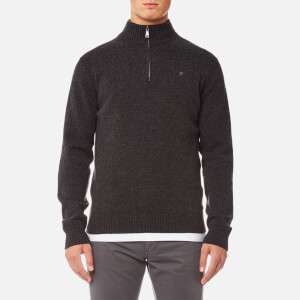 Hackett Men's Lambswool Quarter Zip Jumper - Charcoal