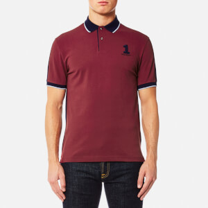 Hackett Men's NBR Contrast Back Short Sleeve Polo Shirt - Burgundy