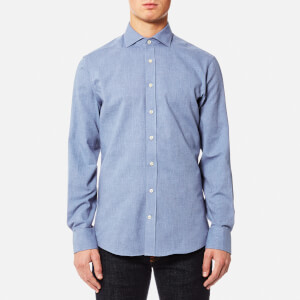 Hackett Men's Plain Flannel Long Sleeve Shirt - Blue