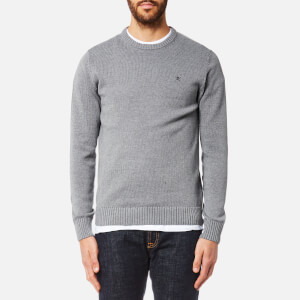 Hackett Men's Cotton Crew Neck Logo Jumper - Grey