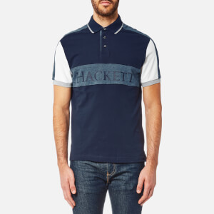 Hackett Men's Panel Multi Short Sleeve Polo Shirt - Navy/Multi