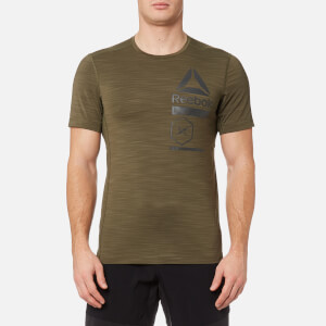 Reebok Men's Activchill Zoned Graphic Short Sleeve T-Shirt - Army Green