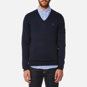 Polo Ralph Lauren Men's Pima Cotton V-Neck Knitted Jumper - Hunter Navy