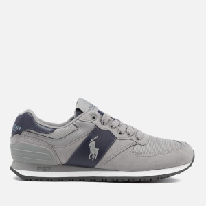 Polo Ralph Lauren Men's Slaton Pony Tech Leather/Tech Suede Trainers - Basic Grey/Newport Navy