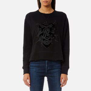 Polo Ralph Lauren Women's Long Sleeve Crew Neck Sweatshirt with Crest - Black