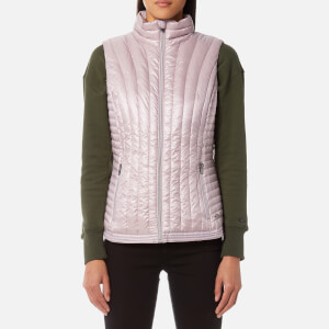 DKNY Sport Women's Vertical Quilted Mock Neck Down Vest - Metallic Wren