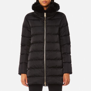 Herno Women's Woven Fur Trim Down Coat - Black