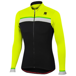 Sportful Pista Thermal Jersey - Black/Yellow Fluo