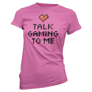 T-Shirt Femme Talk Gaming To Me Cœur Pixel - Rose