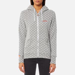 Superdry Women's Orange Label Zip Hoody - Mid Grey Marl/Big Even Dot