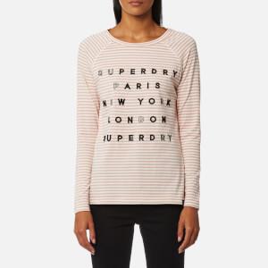Superdry Women's Appliqué Raglan Top - Blush Stripe