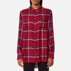 Superdry Women's Supersized Shirt - Red/Blue/White Check