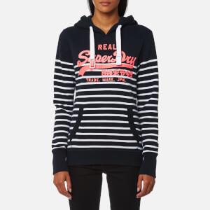 Superdry Women's Vintage Logo Stripe Hoody - Eclipse Navy/Optic
