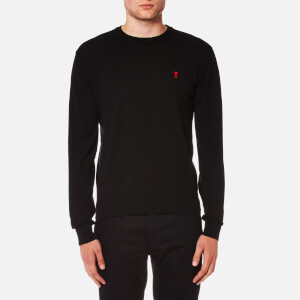 AMI Men's Crew Neck Heart Logo Sweater - Black
