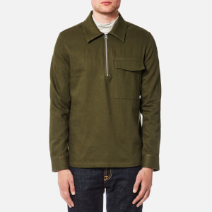 AMI Men's Half Zip Large Fit Shirt - Khaki