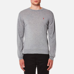 AMI Men's Crew Neck Heart Logo Sweater - Grey