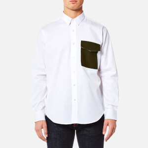 AMI Men's Contrast Pocket Large Fit Shirt - White