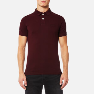 Superdry Men's Vintage Destroyed Short Sleeve Pique Polo Shirt - Darkest Port