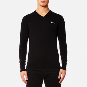 Superdry Men's Orange Label V Neck Knitted Jumper - Black
