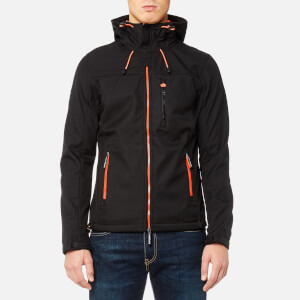 Superdry Men's Hooded Windtrekker Jacket - Black/Emergency Orange