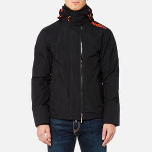 Superdry Men's Tech Hood Pop Zip Windcheater Jacket - Black/Vermillion