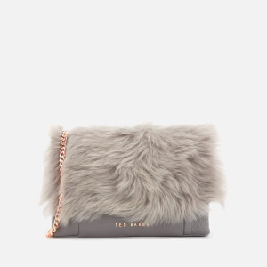 Ted Baker Women's Fuzzi Shearling Flap Cross Body Bag - Mid Grey