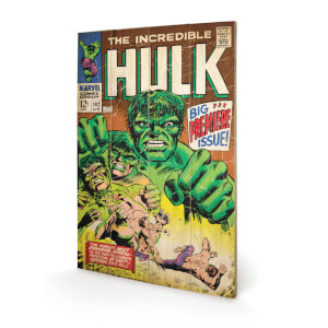 Affiche en Bois Rétro Marvel Hulk Big Issue 40 x 30 cm