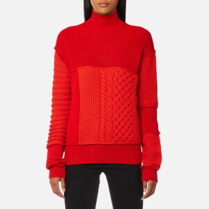 McQ Alexander McQueen Women's Cable Mix Crop Jumper - Electric Red