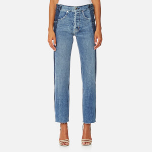 Helmut Lang Women's Reconstructed Straight Jeans - Light Blue Mix