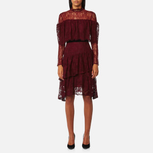 Perseverance London Women's Paisley Lace Multi Ruffle Dress - Burgundy