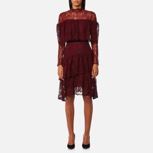 Perseverance London Women's Paisley Lace Multi Ruffle Dress - Burgundy