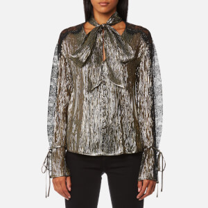 Perseverance London Women's Metallic Chiffon Lace Panel Blouse - Black