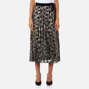 Perseverance London Women's Lurex Teardrop Pleated Midi Skirt - Black