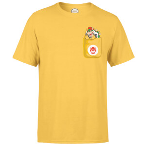 Nintendo Super Mario Bowser Pocket Herren T-Shirt - Gelb