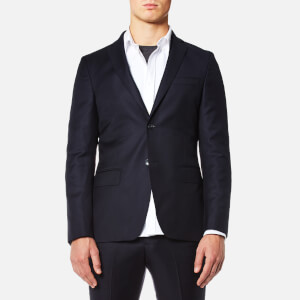 Officine Générale Men's Flannel Flap Pocket Suit Jacket - Navy