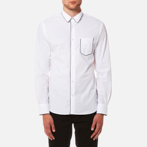 Officine Générale Men's Gab Crisp Poplin Piping Shirt - White