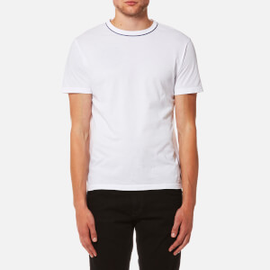 Officine Générale Men's Piping Neck Pigment Dye T-Shirt - White