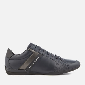BOSS Green Men's Space Leather Low Profile Trainers - Dark Blue