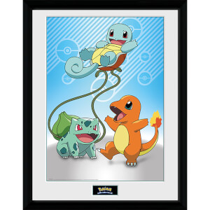 Pokémon Kanto Starters - 16 x 12 Inches Framed Photograph