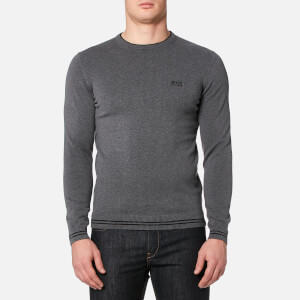 BOSS Green Men's Rime Crew Neck Knitted Jumper - Grey