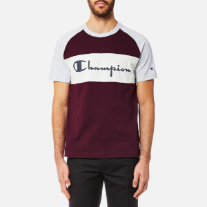 Champion Men's Colour Block T-Shirt - Burgundy/Grey Marl