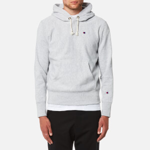 Champion Men's Over Head Small Chest Logo Hoody - Grey Marl