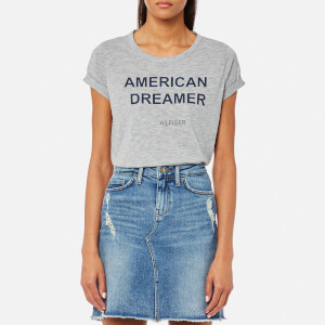 Tommy Hilfiger Women's Short Sleeve Logo T-Shirt - Grey Heather