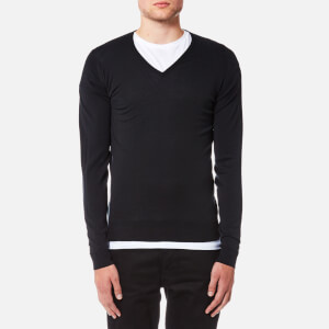 John Smedley Men's Blenheim 30 Gauge Extra Fine V Neck Jumper - Black