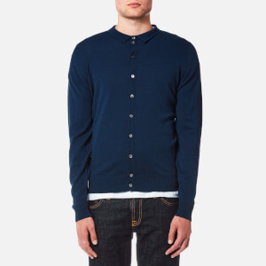 John Smedley Men's Parwish 24 Gauge Merino Full Button Opening Shirt - Indigo