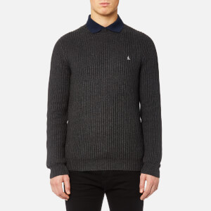 MUSTO Men's Mallory Heavy Rib Crew Neck Knitted Jumper - Charcoal