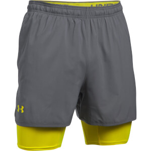 Under Armour Men's Qualifier 2-in-1 Shorts - Grey/Yellow