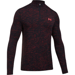 Under Armour Men's Threadborne Seamless 1/4 Zip Fleece - Black/Orange